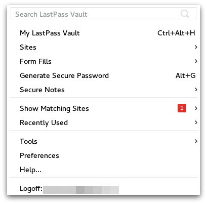 LastPass menu screenshot
