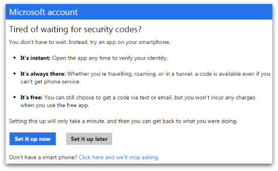 Outlook - security codes