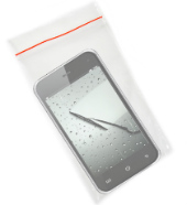 Composite image of evidence bag, phone and wipers, courtesy of Shutterstock