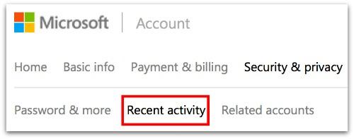 Outlook Recent activity
