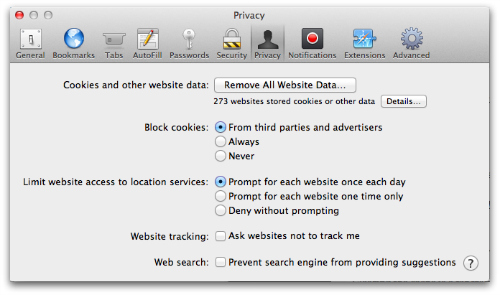 Safari - Privacy settings