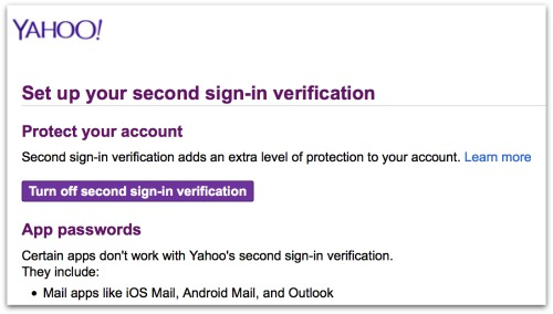 Yahoo Second sign in