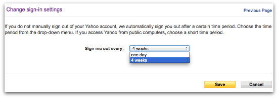 Yahoo! Mail sign out settings