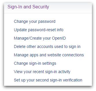 Yahoo! Main options