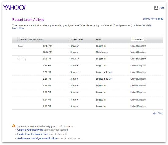 Yahoo! recent activity