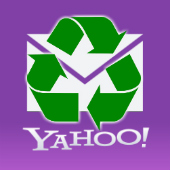 Yahoo logo and recycle icon