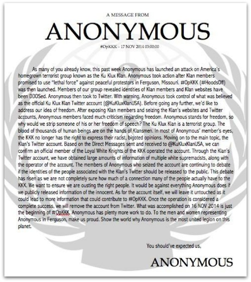 Anonymous message