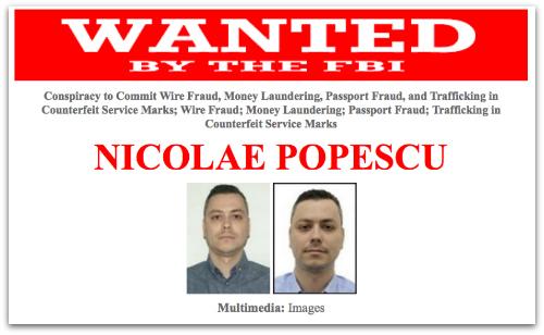 Nicolae Popescu Wanted by the FBI