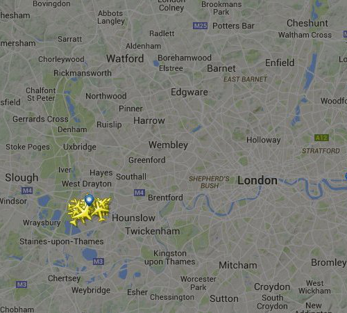 Skies over London - planes grounded at Heathrow
