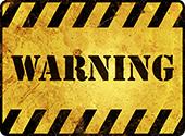 Warning. Image courtesy of Shutterstock.