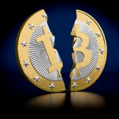 Broken Bitcoin. Image courtesy of Shutterstock.