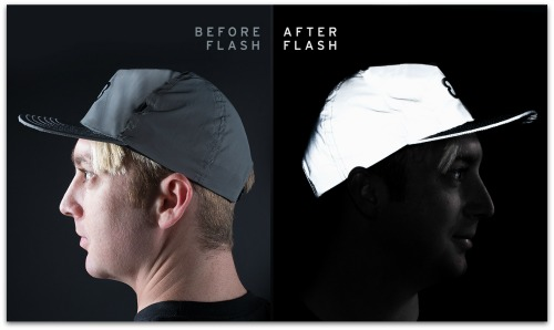 Flashback hat, before and after flash
