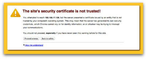 Your security certificate is not trusted