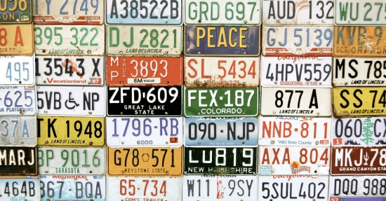 License plates. Image courtesy of Shutterstock.