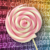 Composite image of lollipop and encryption, courtesy of Shutterstock