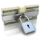 US money with lock - image courtesy of Shutterstock.
