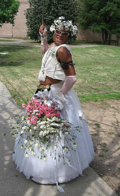 Image of Baton Bob in a wedding dress licensed under Creative Commons, from Flickr user Duane C Moody