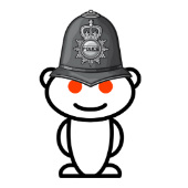 Composite image of Reddit logo and poice hat courtesy of Shutterstock