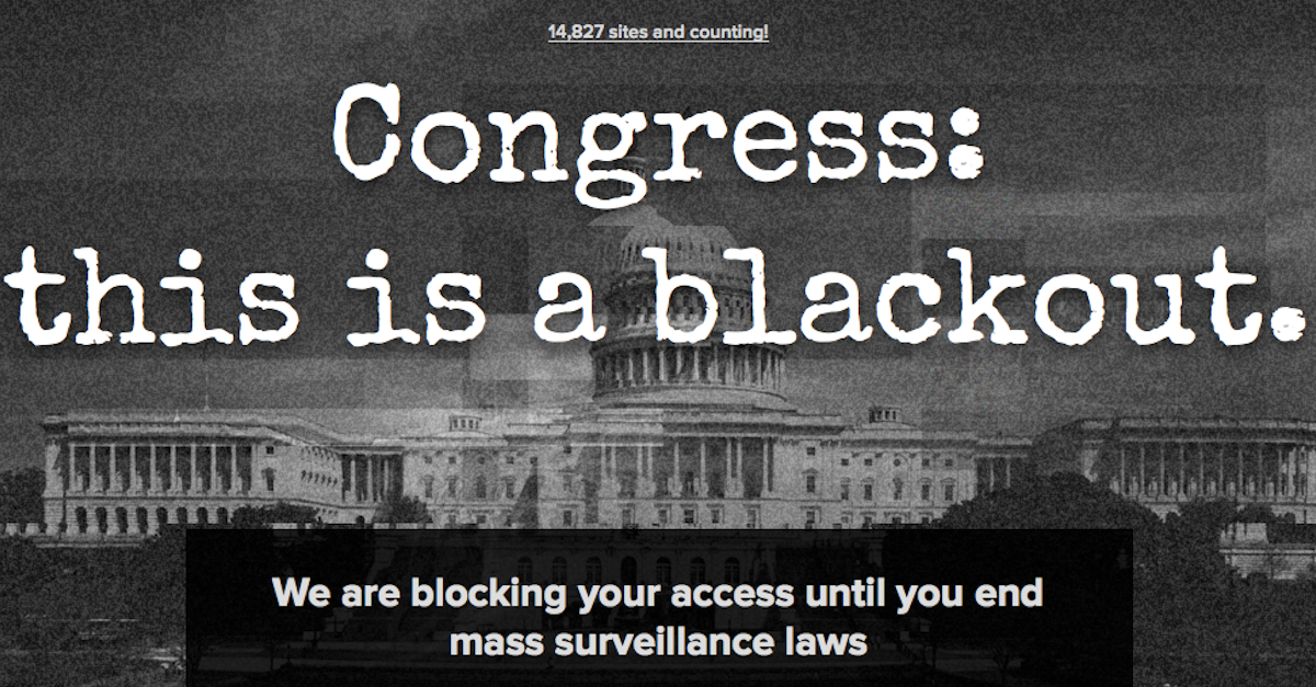 Thousands of sites block and redirect Congress to Patriot Act protest page