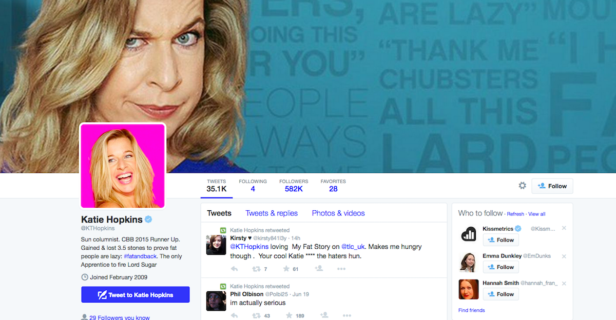 Katie Hopkins' Twitter account hacked, bogus 'sex tape' tweets issued