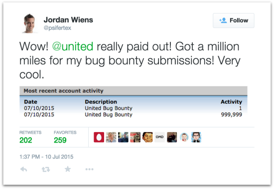 Wiens Twitter status on bug bounty payout