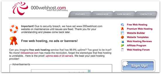 000webhost website maintenance