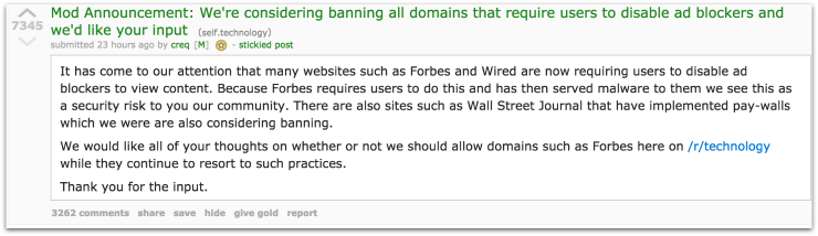 reddit moderator post on banning adblocker blocking websites
