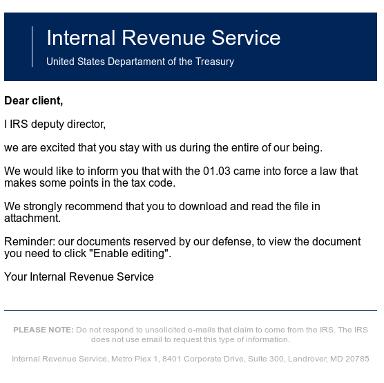 IRS phish ransomware Doc 2017
