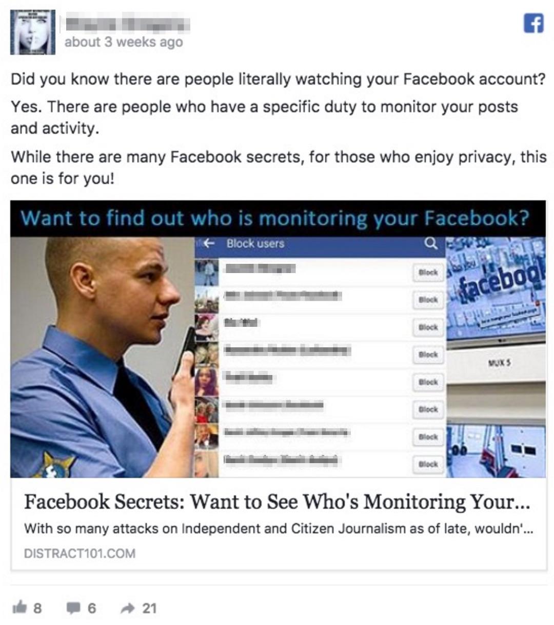 "Facebook ""following me"" hoax"