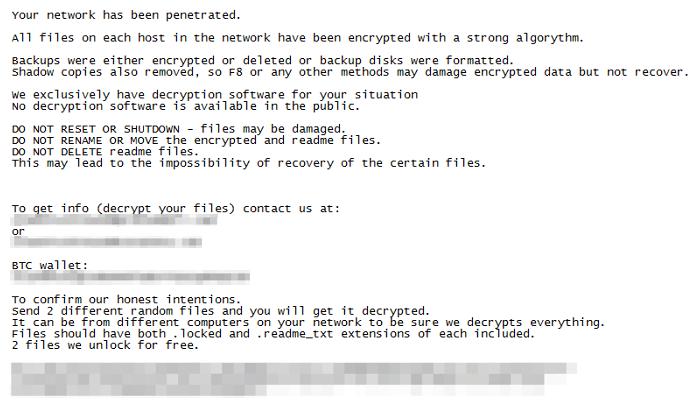 Bitpaymer ransom note