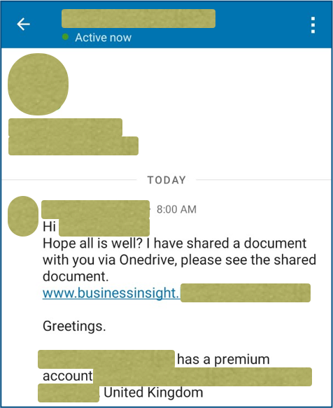 LinkedIn phishing message